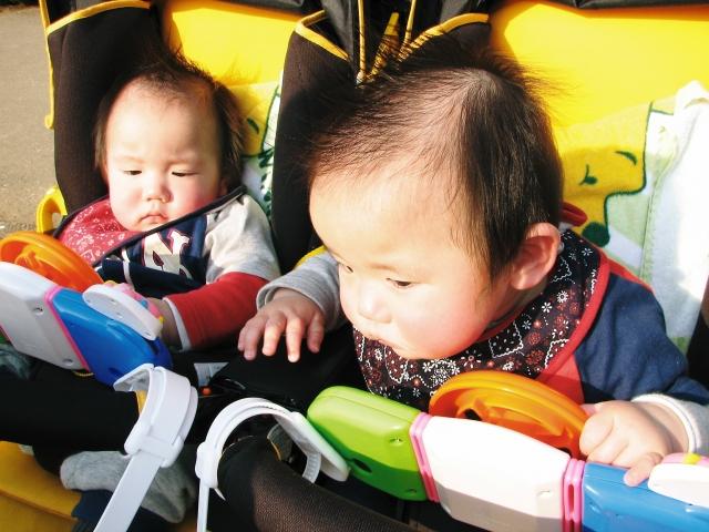 ベビーカーの双子赤ちゃん